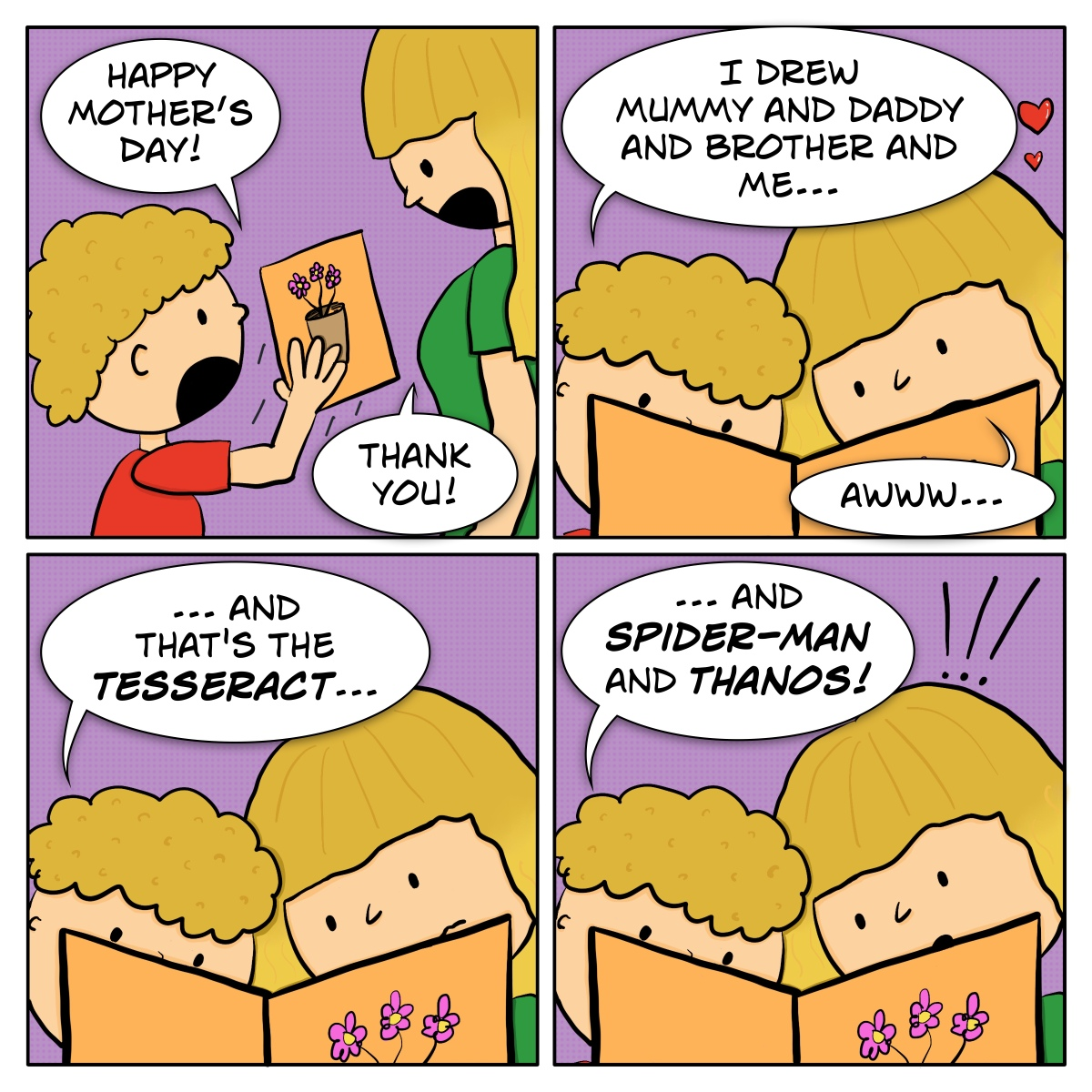 Comic of a kid giving their mother a Mother's Day card, in which there's a drawing of their family, plus Marvel characters