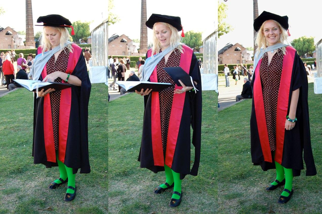Three photos from Tess's PhD graduation